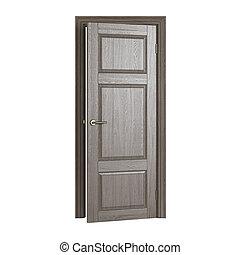 porta, rendering., isolato, fondo., bianco, 3d