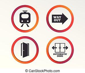 porta, símbolo., trem, estrada ferro, automático, icon.