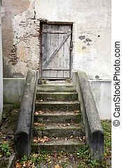 porta, scale, parete, legno