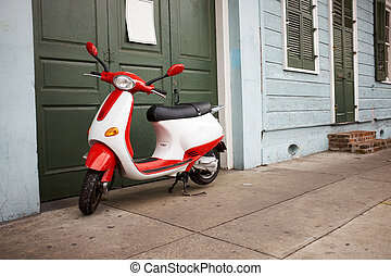 porta, scooter, esterno, verde, parcheggiato, bianco rosso