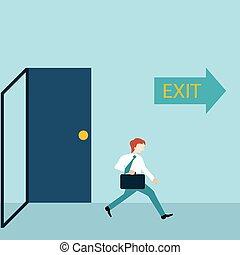porta, sinal., executando, saída, homem negócios, saída