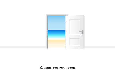 porta, spiaggia, oceano, riva, aperto, vista