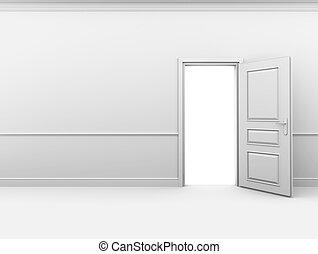 porta, stanza, parete, bianco, aperto, vuoto