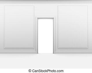 porta, stanza, struttura parete, chiuso, bianco, vuoto