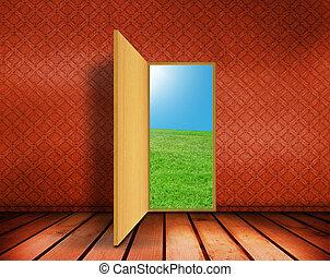 porta, stanza, vuoto, aperto