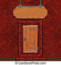 porta, taverna, cartello, facciata, porta, negozio