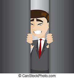 porta, tentado, elevador, homem negócios, abertos, ...