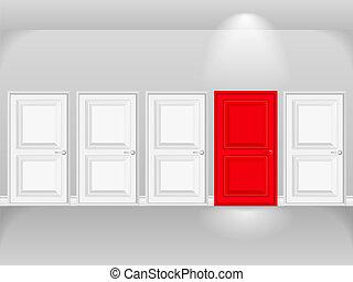 porta vermelha, em, fila, de, branca, portas