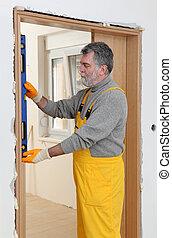 porta, verticality, nível, ferramenta, medida, construtor