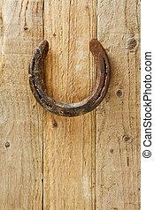 porta, vindima, afortunado, antigas, pendurado, horeshoe
