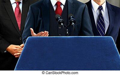 porta-voz, falando, durante, imprensa, mídia, conferência