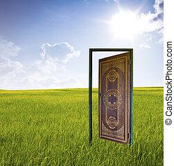 porta, world., novo