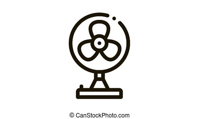 Portable Air Fan Cooling Equipment animated black icon on white background