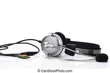 portable audio concept - Modern headphones with microphone...