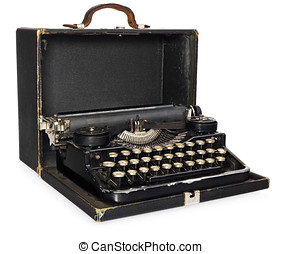 portable, case., cuir, vendange, antiquité, ouvert, vieux, machine écrire