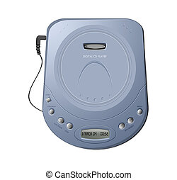 Portable CD player - Blue - Computer-generated illustration...