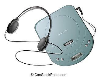 Portable CD player with headphones - Green - Computer-...
