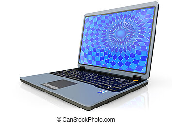 Portable computer laptop c a background on the screen