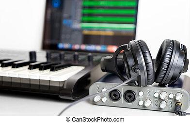 portable computer, zene studio, otthon, felszerel