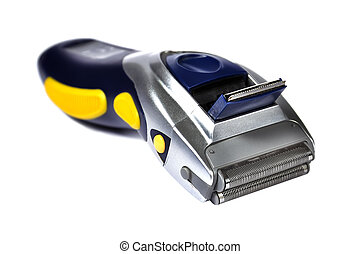electric shaver - portable electric shaver on white ...