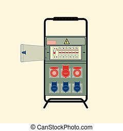 Portable electric panel with protection. Vector illustration in flat style.