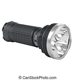 Portable flashlight with mirror reflector and chrome-plated...