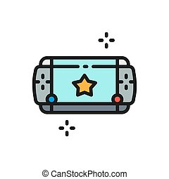 Portable game device flat color line icon.