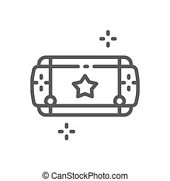 Portable game device line icon.