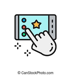 Portable game on smartphone, app flat color line icon.