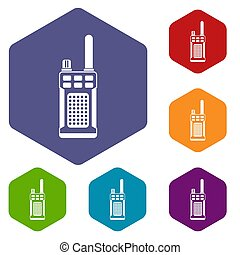 Portable handheld radio icons set rhombus in different...