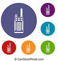 Portable handheld radio icons set