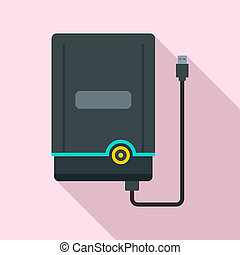 Portable hard disk icon, flat style