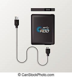 Portable hard drive disk flat icon vector