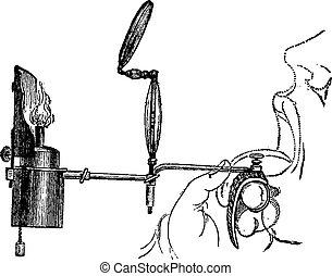 Portable Laryngoscope, vintage engraving