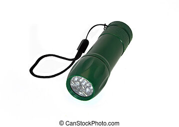 Portable LED flashlight green color isolate on a white background. Close-up.