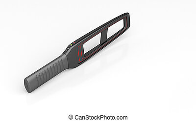 Portable metal detector on shiny white background
