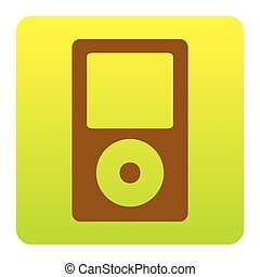 Portable music device. Vector. Brown icon at green-yellow gradient square with rounded corners on white background. Isolated.