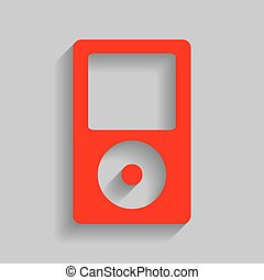 Portable music device. Vector. Red icon with soft shadow on gray background.