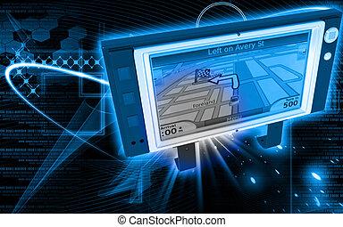 Portable navigator - Digital illustration of Portable...