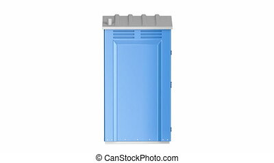 Portable plastic toilet on white background