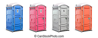 Portable plastic toilet or public facilities of different ...