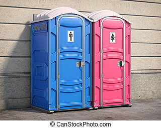 Portable plastic toilet or public facilities on the street. ...