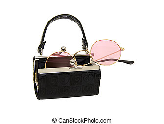 Portable point of view - Black fabric purse with silver ball...