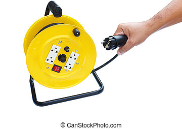 Portable power cord reel with line in hand isolated on white background
