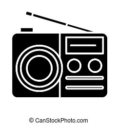 portable radio reciever icon, illustration, vector sign on isolated background
