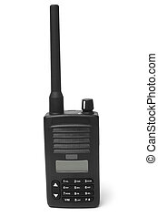Portable radio transmitter on white background
