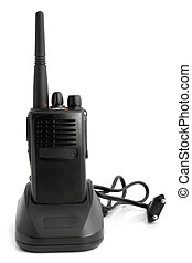 Portable radio transmitter with charger