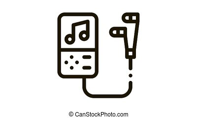 Portable Record Player With Headphones animated black icon on white background