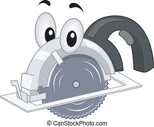 Portable Saw Mascot - Mascot Illustration Featuring a...