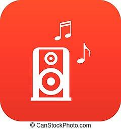 portable, speacker, musique, numérique, rouges, icône